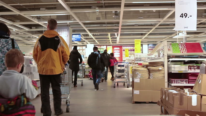 SAINT PETERSBURG, RUSSIA   CIRCA JAN, 2015: Showroom Is In Ikea Store With  Walking People. Ikea Multinational Group Is The Worldu0027s Largest Furniture  ...