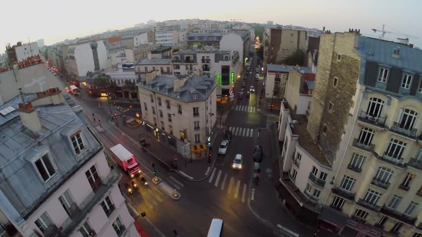 PARIS - SEP 11, 2014: Crossroads traffic in 10th district of Paris at autumn morning. Aerial view. Total area of 10th district is 2,89 sq.km.
