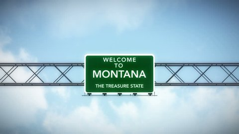 4K Passing under Welcome to Montana State USA Interstate Highway Sign with Matte Photo Realistic 3D Animation 4K 4096x2304 ultra high definition
