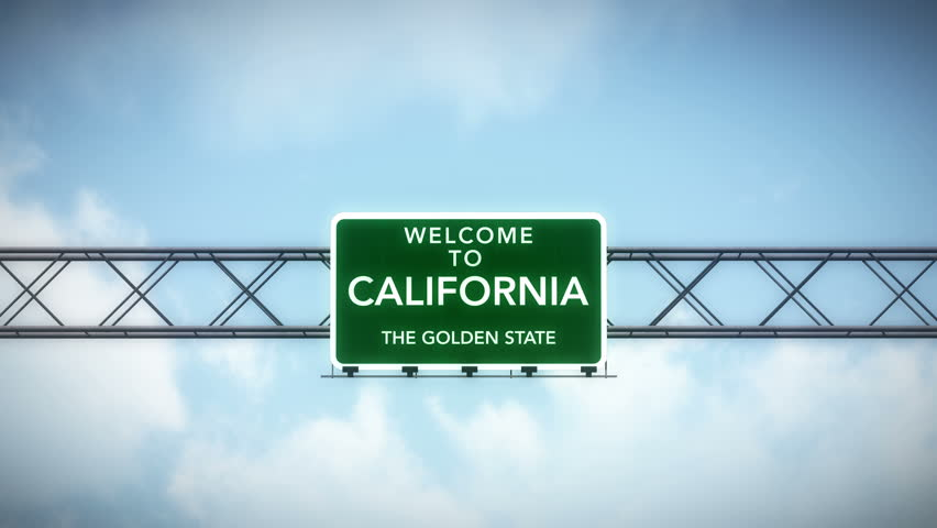 4K Passing under Welcome to California State USA Interstate Highway Sign with Matte Photo Realistic 3D Animation 4K 4096x2304 ultra high definition