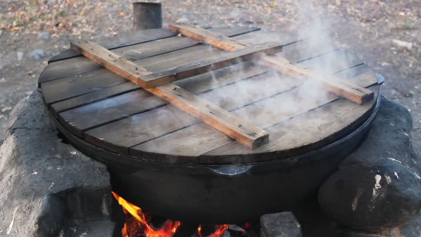 Cauldron in burning Forge, summer picnic, closeup | Shutterstock HD Video #917854