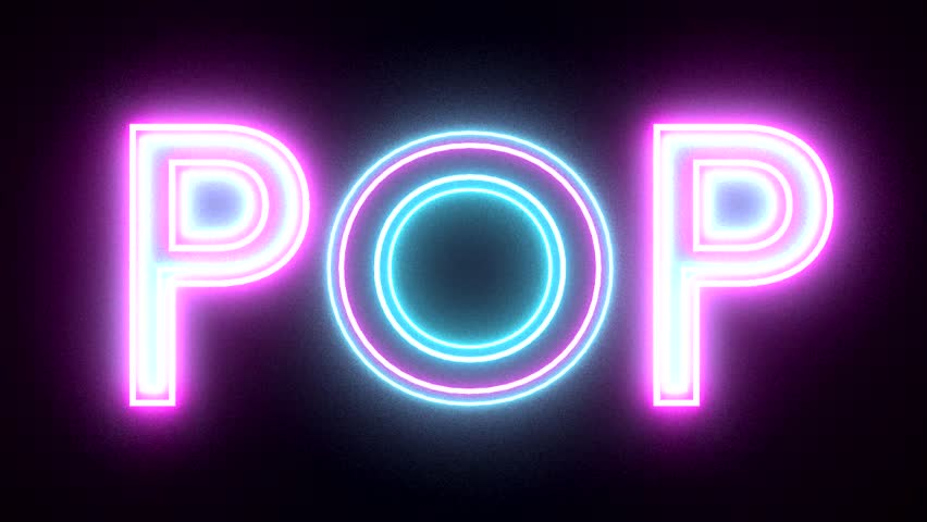Pop neon sign lights logo text glowing multicolor