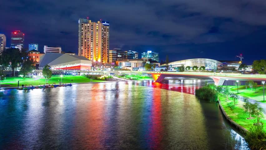 Adelaide, Australia - March 4, 2015: 4k timelapse video of Riverbank Precinct in Adelaide, Australia during the Adelaide Fringe Festival.