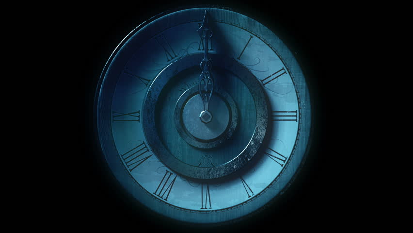 Front view of vintage wall clock with one metal pointer animated going one full circle. Looping on black background. Bluish, night look.