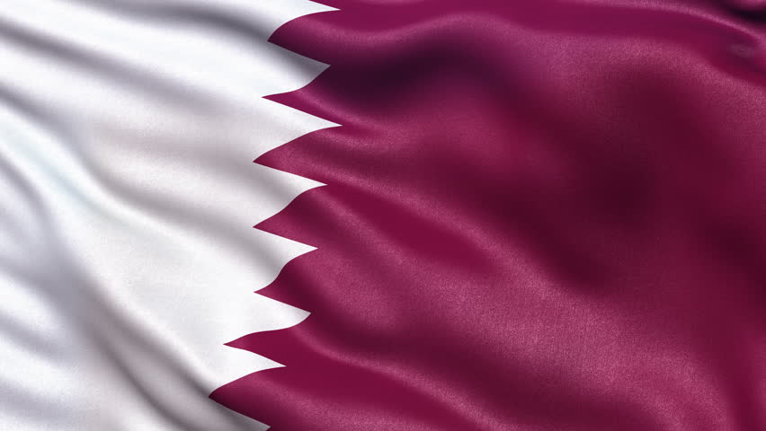 Realistic Ultra-HD flag of Qatar waving in the wind. Seamless loop with highly detailed fabric texture. Loop ready in 4K resolution.