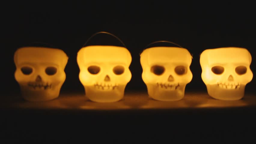 Glowing skull candle