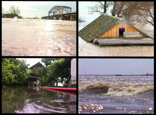 Montage of video clips showing dangerous flood waters arranged in a multi-screen.