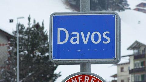 Winter view of Davos, famous Swiss skiing resort, World Economic Forum, Switzerland