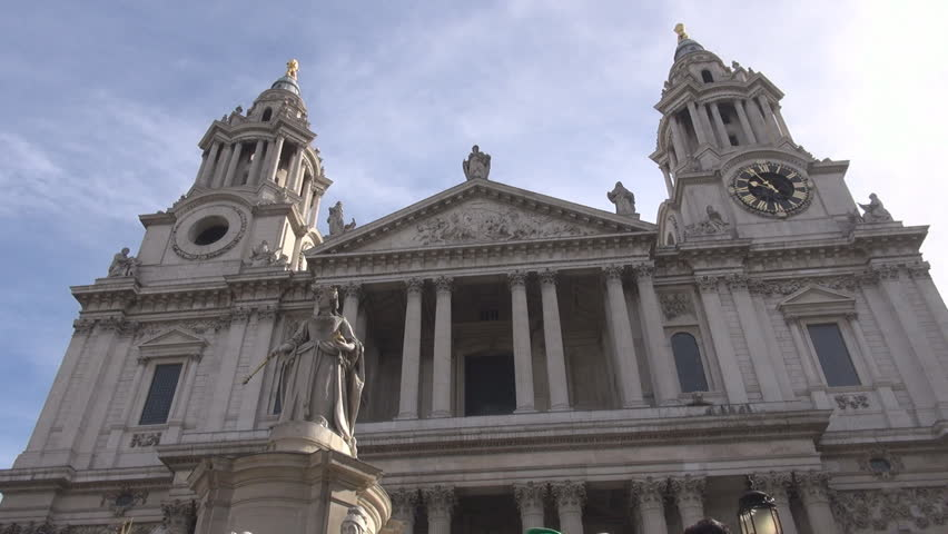 London, England UK - March 15, 2015 Front side of Saint Paul cathedral in