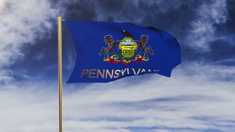 pennsylvania flag with title waving in the wind. Looping sun rises style.  Animation loop