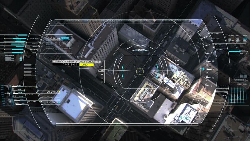 Drone Technology USA spy satellite GPS motion graphics aerial HUD flight city   Shutterstock HD Video #9275621