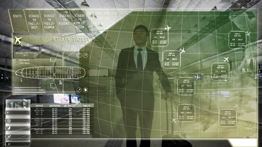 Businessman Asian Travel Airport Terminal technology Touchscreen motion graphics #9276962