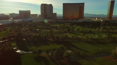 Las Vegas 2/18/15 Aerial Cityscape Golf Course v8 Low flying aerial over golf course. 2/18/15