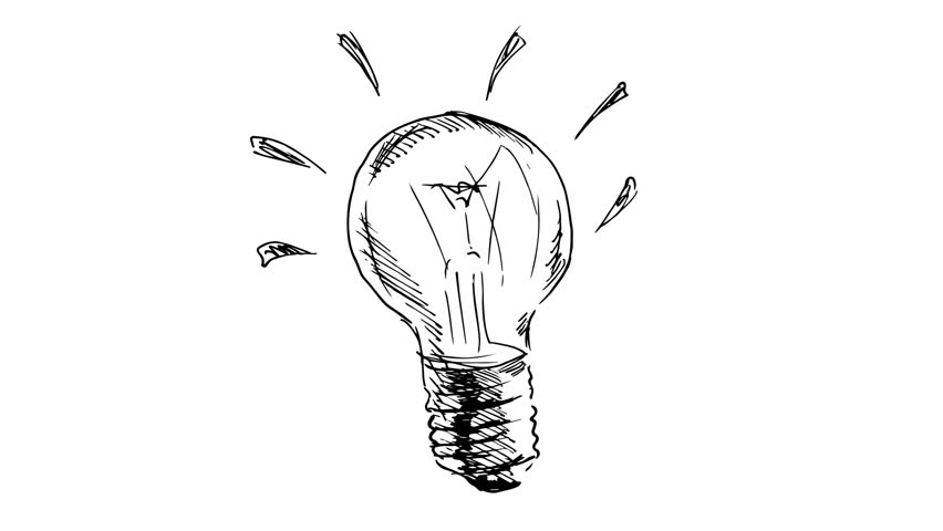 stock video of animated drawing light bulb