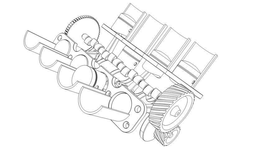 cartoon outline of internal bustion stock footage video 100 Internal Combustion Engine Design cartoon outline of internal bustion engine v8 3d hd 1080p 30fps loop