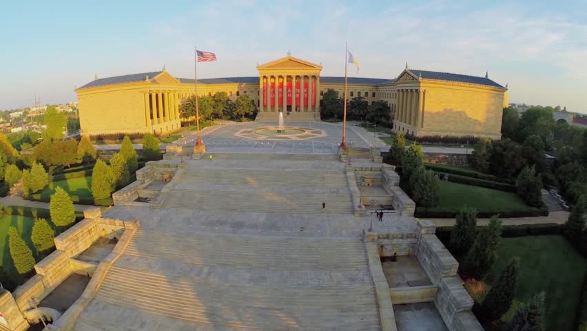 PHILADELPHIA - SEP 02, 2014: Staircase and fountain near Philadelphia Museum of Art. Aerial view. Staircase is known as Rocky Steps as result of their appearance in triple-Oscar-winning film Rocky.