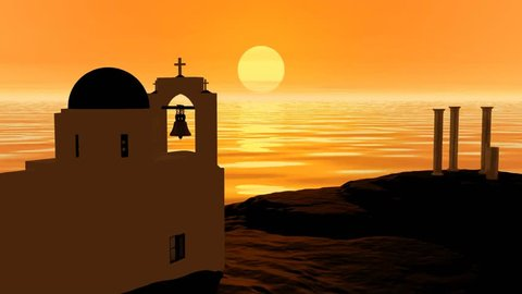 Sunset animation, the sun hidden inside the golden sea behind the white church and bell, there is a beautiful orange atmosphere in landscape.