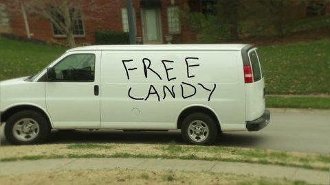 "Funny ""free candy"" van, creepy"