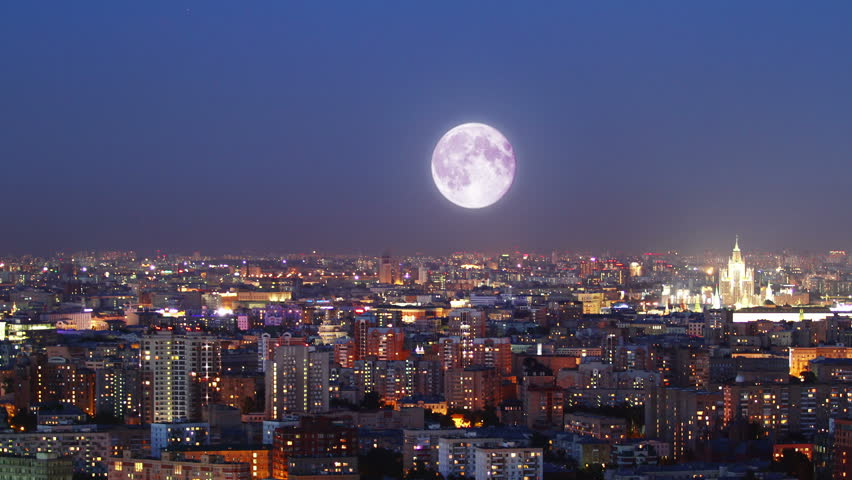 Moonrise over Moscow, time lapse | Shutterstock HD Video #9392192