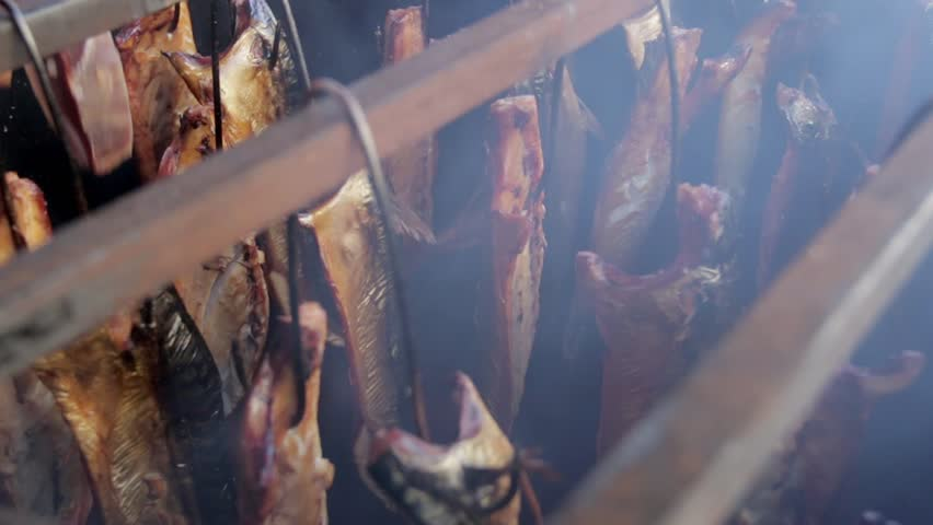 Fish Smoking Process For Home Use. Smoked Mackerel. Close Up Smoking Process Fish In Smoking Shed For Home Use. Smoke From Smokehouse | Shutterstock HD Video #9403802