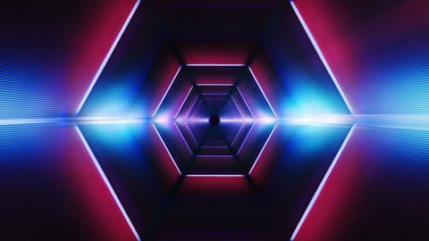 And endless tunnel of hexagons. A stylish vj loop ideal for your parties, events, vj sessions. Glowing effects. Futuristic style. Interior of a spaceship
