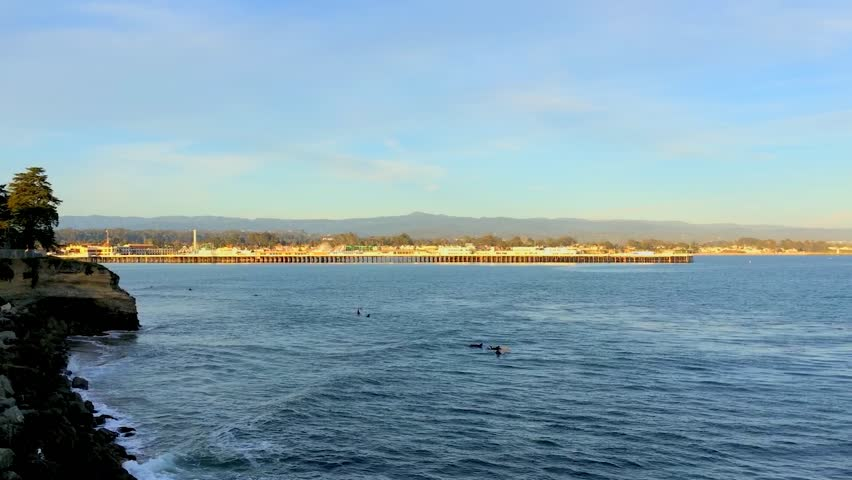 Santa Cruz, Steamer Lane West Side, California, USA. Steamer Lane is a famous surfing location in Santa Cruz, California. | Shutterstock HD Video #9503672