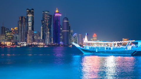 Doha, Qatar- CIRCA DECEMBER 2013: Wide-shot time-lapse Arabian Peninsula and West Bay Central Financial District