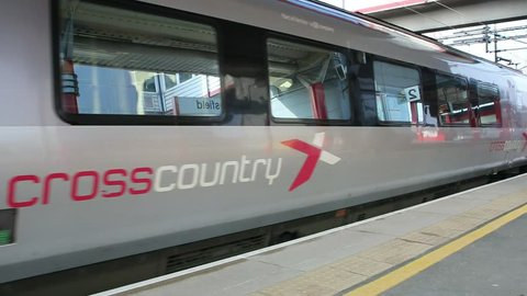 Macclesfield,UK - March 18th 2015: A Crosscountry Voyager train leaves a Macclesfield,UK railway station platform en-route to the south of England.