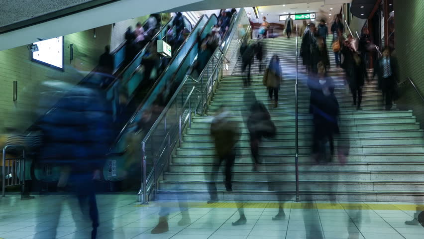 Subway Rush Hour Time-lapse using the Stairs and Escalator - High Definition Video