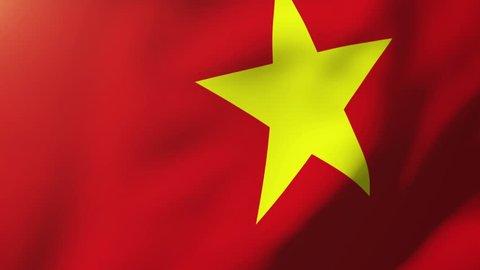 Vietnam flag waving in the wind. Looping sun rises style.  Animation loop