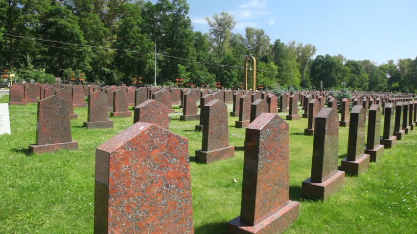 tombs of soviet soldiers, who have died during the Great Patriotic War