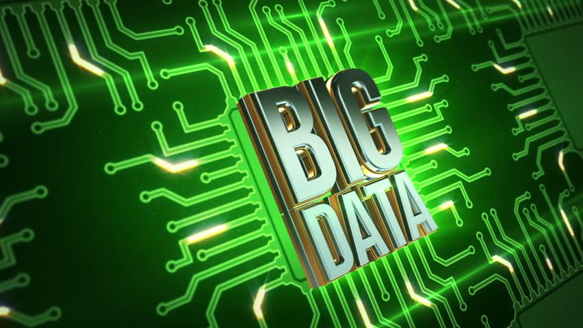 Animation of printed circuit board with metallic text of Big Data. Abstract background for movie about data technology in internet or presentation about data storage in servers. | Shutterstock HD Video #9541862