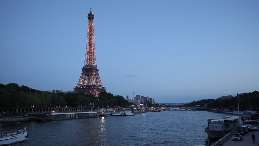 Eiffel Tower and River Seine at Dusk, Paris, France, Europe - June 2014 | Shutterstock HD Video #9543212