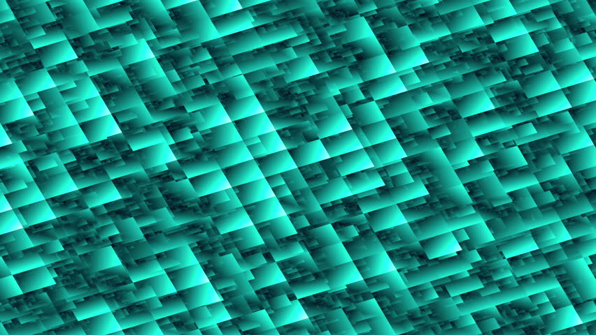 Abstract background blocks blue/cyan/green 4K animation. High quality clip rendered on high end computer and graphics card.