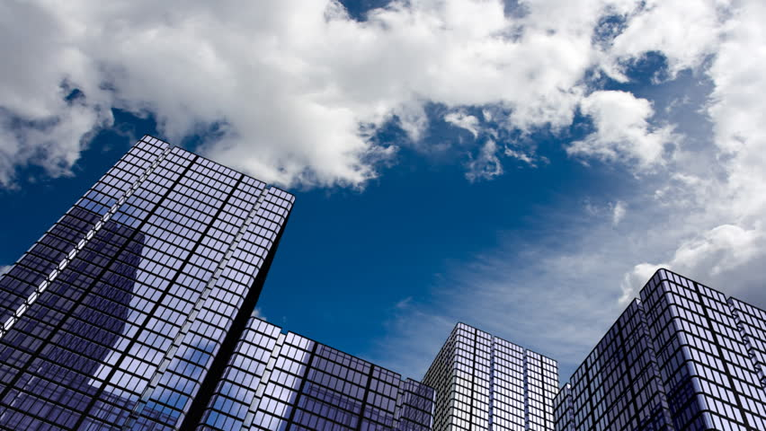 Corporate buildings and time lapse clouds. HD 1080 version. | Shutterstock HD Video #95659
