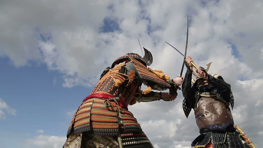 fight two Japanese samurai in the background of sky with clouds closeup