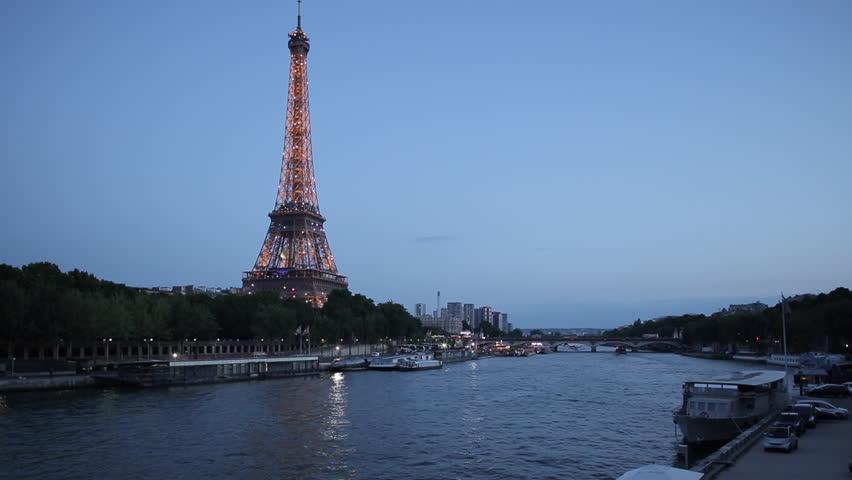 Eiffel Tower and River Seine at Dusk, Paris, France, Europe - June 2014 | Shutterstock HD Video #9576680