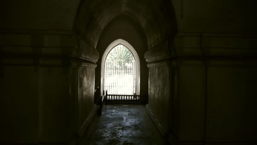 A Continuous Pan Reveals The Hallways And Windows Of An Ancient Temple.  Stock Footage Video