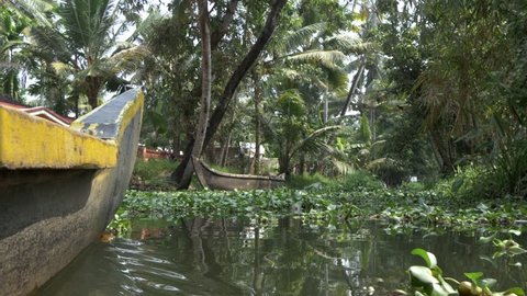 canoe boat on backwaters of Kerala State, South India