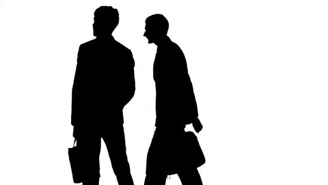 Businessmen shaking hands with each other, silhouette, going in the same direction