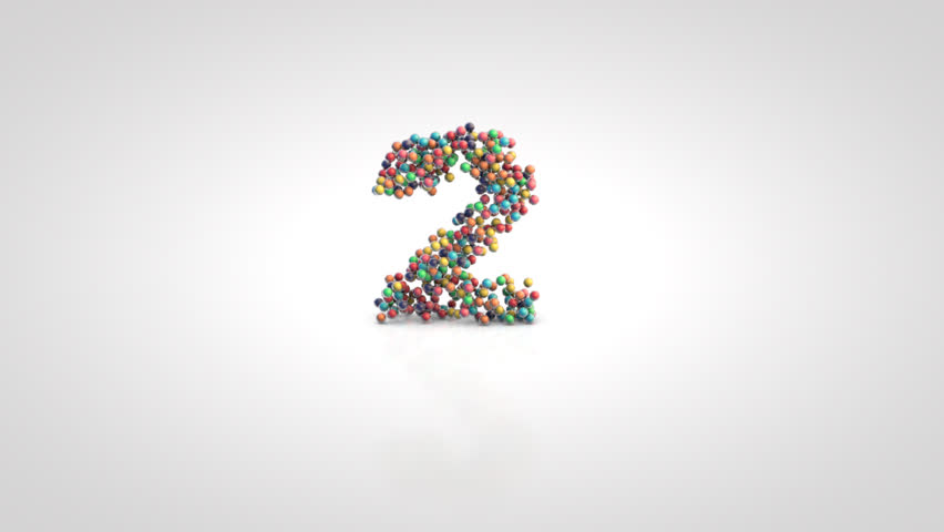 Number 2 with moving a swarm of glossy colorful 3d balls on a white background