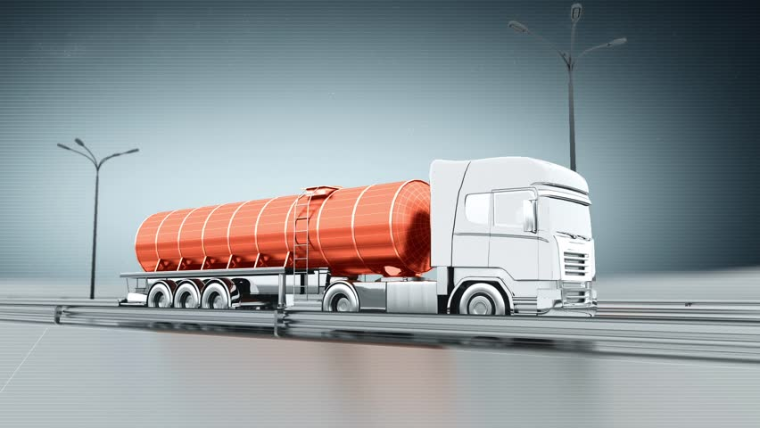 Orange tanker gas truck on a highway. Side view. Looping animation background. #9637262