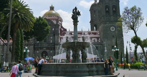 MEXICO - PUEBLA - CIRCA APRIL 2015 - The Catedral de Puebla. The town was founded by the Spanish in 1531 to service the trade route between Mexico City and the port of Veracruz.