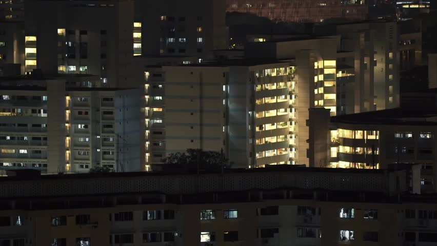 Singapore - March 2015 Residental Apartment Building Close-up at Night   Shutterstock HD Video #9650252