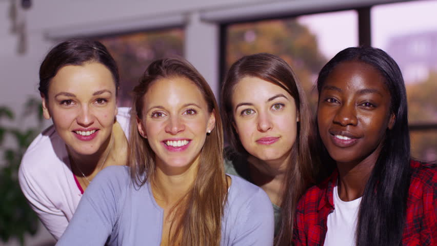4K Happy attractive young women having a video chat, as seen from the point of view of the computer screen. | Shutterstock HD Video #9656936