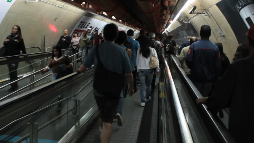 SAO PAULO, BRAZIL - CIRCA MAY: Escalator at the Sao Paulo subway - Metro SP. Brazil – Passangers at the Metro SP, corridor to connect Consolação and  Paulista station. May 2014