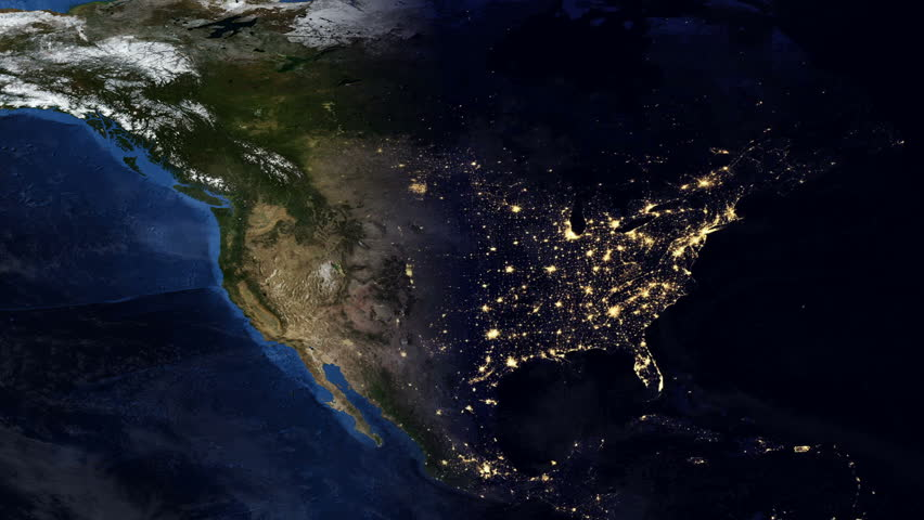 Telecommunication Satellite Over Earth North America Night Space - World satellite night view