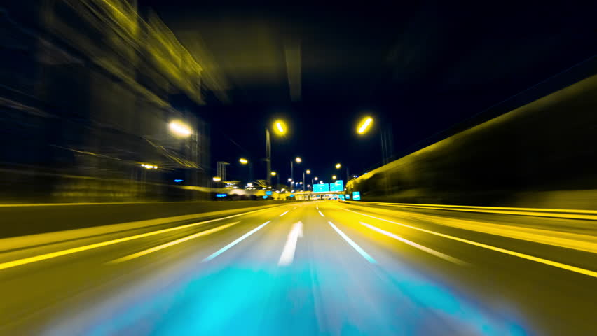 4K-HD drive pov modern highway timelapse/hyperlapse night.Pov night driving hyperlapse at a modern highway passing a series of tunnels.Camera is placed outside the vehicle and level is horizontal. | Shutterstock HD Video #9748982