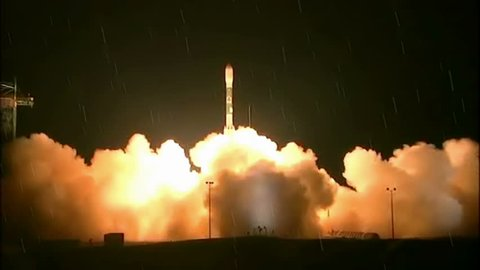 Launching of a rocket into space by rainy night, Video clip