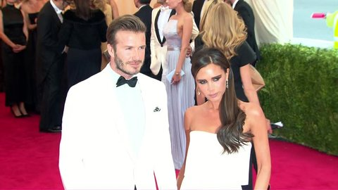 New York, NY - May 05,2014: David Beckham and Victoria Beckham at The Costume Institute Gala 2014, The Metropolitan Museum of Art